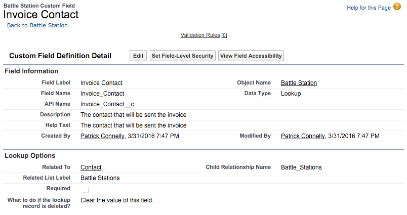 Invoice Contact Field
